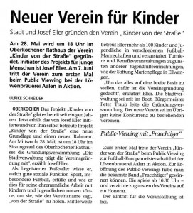 Aus dem Projekt Kinder von der Strasse wird ein Verein - Bild 1 - Datum: 28.05.2008 - Tags: Besonderes, Pressebericht, AKTION FUSSBALLTAG e.V.