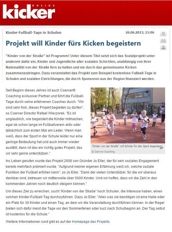 Bericht von Kicker ueber die bundesweiten Fussballtage - Bild 1 - Datum: 26.06.2013 - Tags: Besonderes, Kicker, Pressebericht, AKTION FUSSBALLTAG e.V.