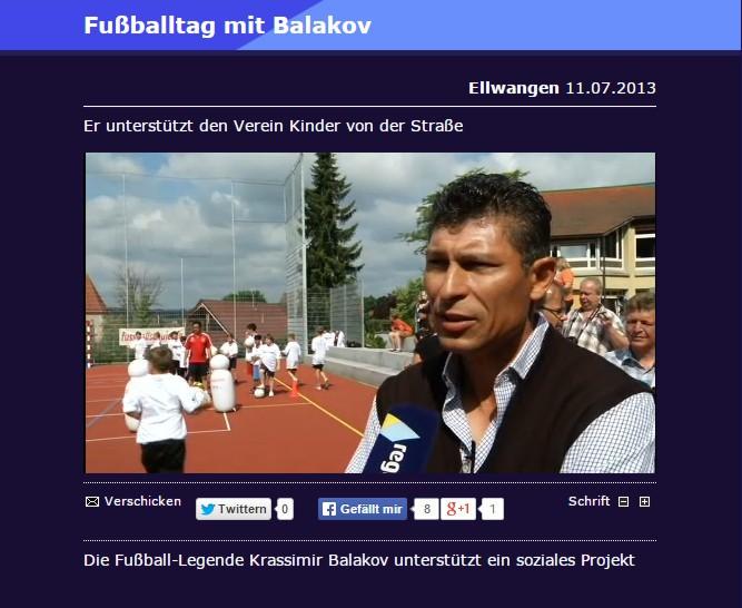 Bericht von regioTV ueber den AMGFussballtag mit FussballLegende Krassimir Balakov - Bild 1 - Datum: 11.07.2013 - Tags: Besonderes, regioTV, Videobericht, AKTION FUSSBALLTAG e.V.