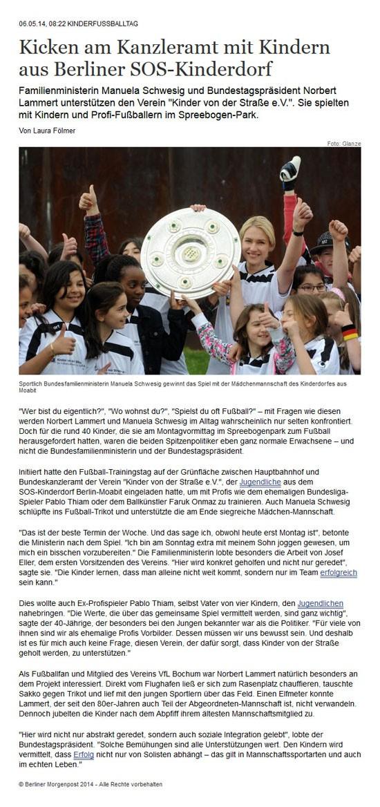 Einer der vielen Zeitungsberichte Fussballtag in Berlin vor dem Reichstag am 05052014 - Bild 1 - Datum: 06.05.2014 - Tags: Besonderes, Fußballtag in Berlin vor dem Bundestag, Pressebericht, AKTION FUSSBALLTAG e.V.