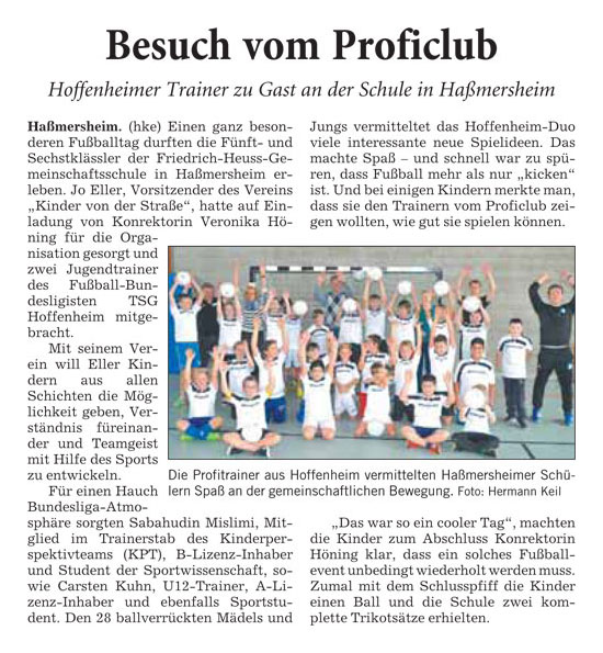 Presseberichte - Bild 1 - Datum: 27.03.2015 - Tags: AKTION FUSSBALLTAG e.V.