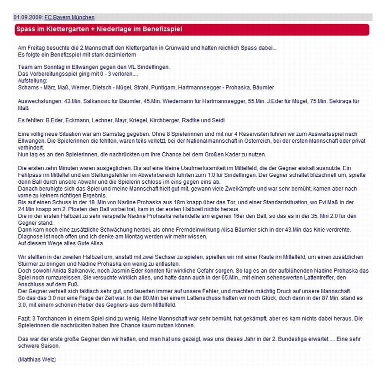 FC Bayern Muenchen vom 01092009 - Bild 1 - Datum: 16.09.2009 - Tags: Pressebericht, AKTION FUSSBALLTAG e.V.