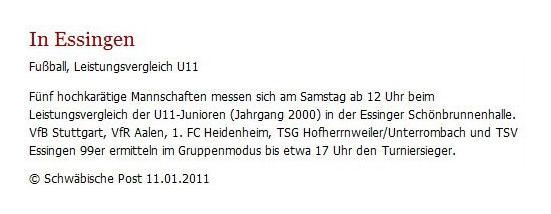 Schwaepo vom 11012011 - Bild 1 - Datum: 10.02.2011 - Tags: Pressebericht, AKTION FUSSBALLTAG e.V.