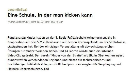 Stuttgarter Nachrichten  Stuttgarter Zeitung vom 16072011 - Bild 1 - Datum: 23.07.2011 - Tags: Pressebericht, AKTION FUSSBALLTAG e.V.