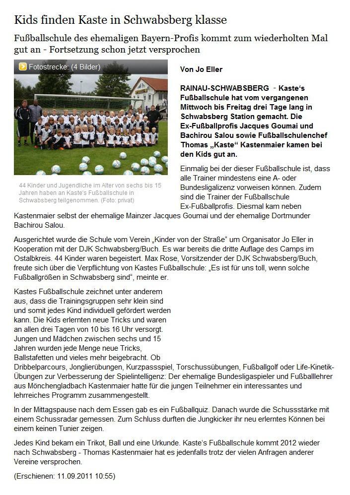 schwaebischede vom 11092011 - Bild 1 - Datum: 14.09.2011 - Tags: Pressebericht, AKTION FUSSBALLTAG e.V.