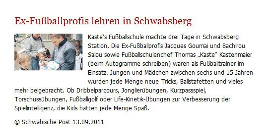Schwaepo vom 13092011 - Bild 1 - Datum: 27.09.2011 - Tags: Pressebericht, AKTION FUSSBALLTAG e.V.