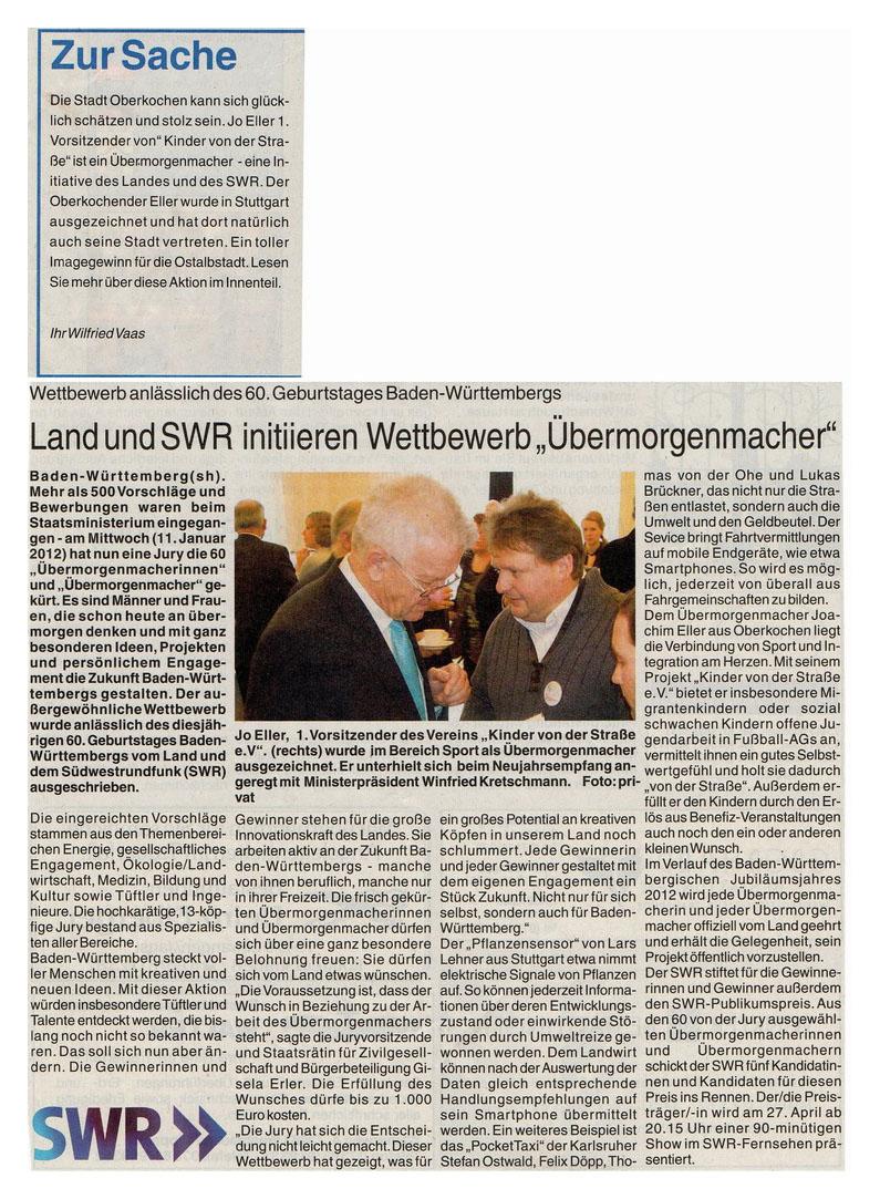 WZ vom 21012012 - Bild 1 - Datum: 27.01.2012 - Tags: Auszeichnung, Pressebericht, AKTION FUSSBALLTAG e.V.