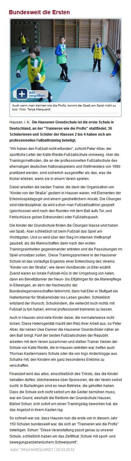 Suedwest Presse vom 20032012 - Bild 1 - Datum: 26.03.2012 - Tags: Pressebericht, AKTION FUSSBALLTAG e.V.