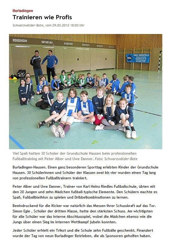 Schwarzwaelder Bote vom 29032012 - Bild 1 - Datum: 10.04.2012 - Tags: Pressebericht, AKTION FUSSBALLTAG e.V.