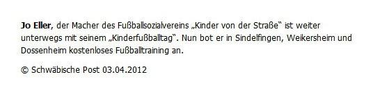 Schwaepo vom 03042012 - Bild 1 - Datum: 10.04.2012 - Tags: Pressebericht, AKTION FUSSBALLTAG e.V.