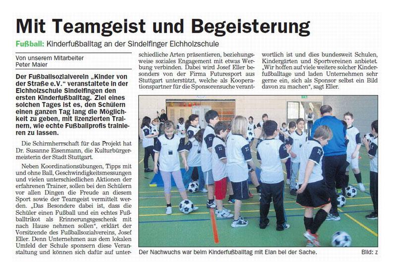 Sindelfinger Zeitung  Boeblinger Zeitung vom 11042012 - Bild 1 - Datum: 28.04.2012 - Tags: Pressebericht, AKTION FUSSBALLTAG e.V.