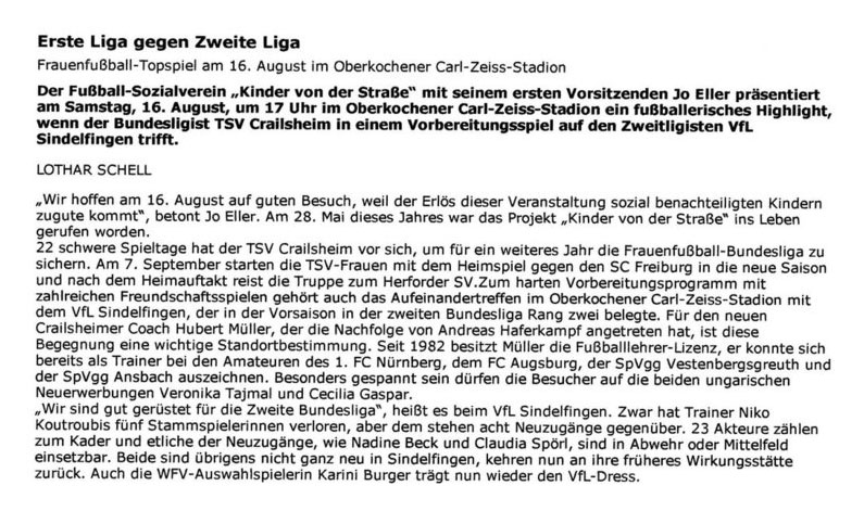 Pressebericht 19 - Bild 1 - Datum: 15.11.2008 - Tags: Pressebericht, AKTION FUSSBALLTAG e.V.