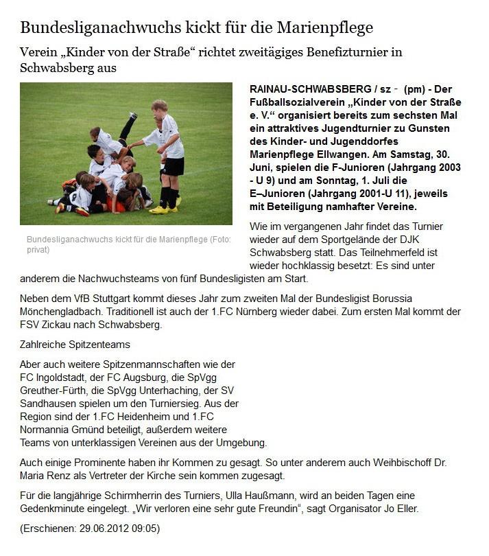 schwaebischede vom 29062012 - Bild 1 - Datum: 30.06.2012 - Tags: Pressebericht, AKTION FUSSBALLTAG e.V.