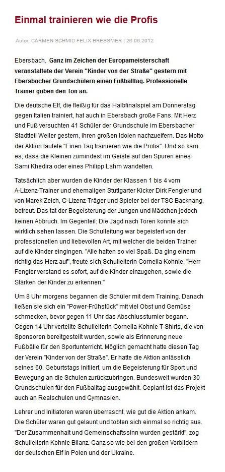 Heidenheimer Zeitung vom 26062012 - Bild 1 - Datum: 08.07.2012 - Tags: Pressebericht, AKTION FUSSBALLTAG e.V.