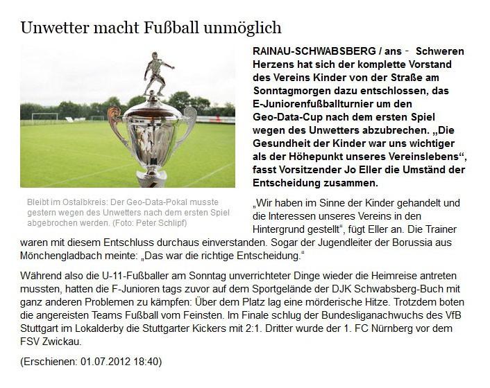 schwaebischede vom 01072012 - Bild 1 - Datum: 08.07.2012 - Tags: Pressebericht, AKTION FUSSBALLTAG e.V.