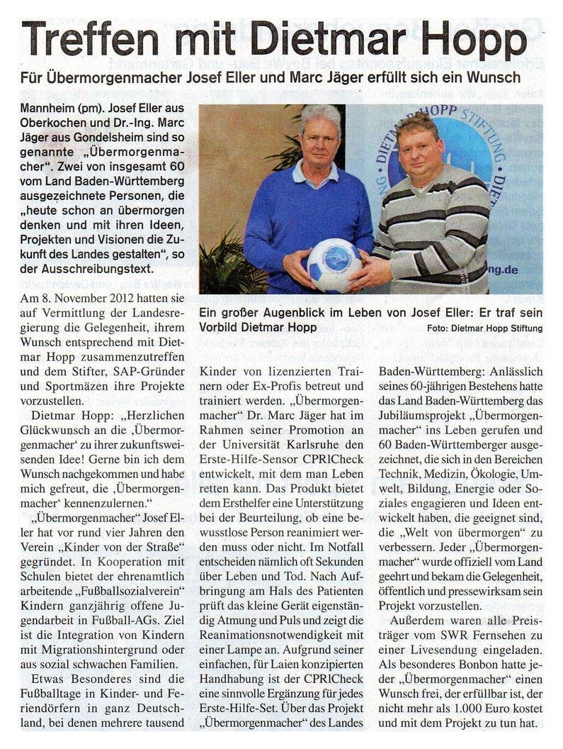 WZ vom 17112012 - Bild 1 - Datum: 28.11.2012 - Tags: Auszeichnung, Pressebericht, AKTION FUSSBALLTAG e.V.