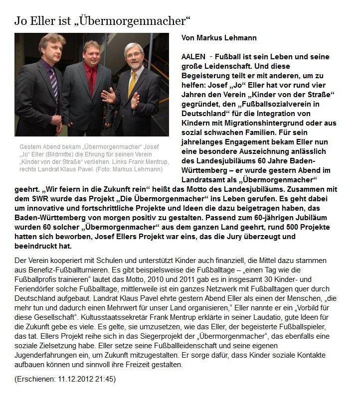 schwaebischede vom 11122012 - Bild 1 - Datum: 12.12.2012 - Tags: Auszeichnung, Pressebericht, AKTION FUSSBALLTAG e.V.