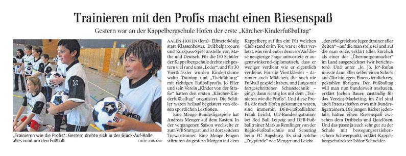 Aalener Nachrichten vom 18122012 - Bild 1 - Datum: 24.12.2012 - Tags: Kärcher, Pressebericht, AKTION FUSSBALLTAG e.V.