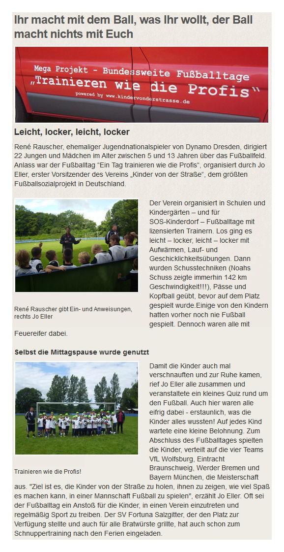soskinderdorfde vom 10092012 - Bild 1 - Datum: 28.12.2012 - Tags: Pressebericht, AKTION FUSSBALLTAG e.V.