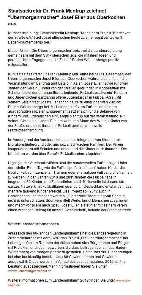kultusportalbwde vom 11122012 - Bild 1 - Datum: 28.12.2012 - Tags: Auszeichnung, Pressebericht, AKTION FUSSBALLTAG e.V.