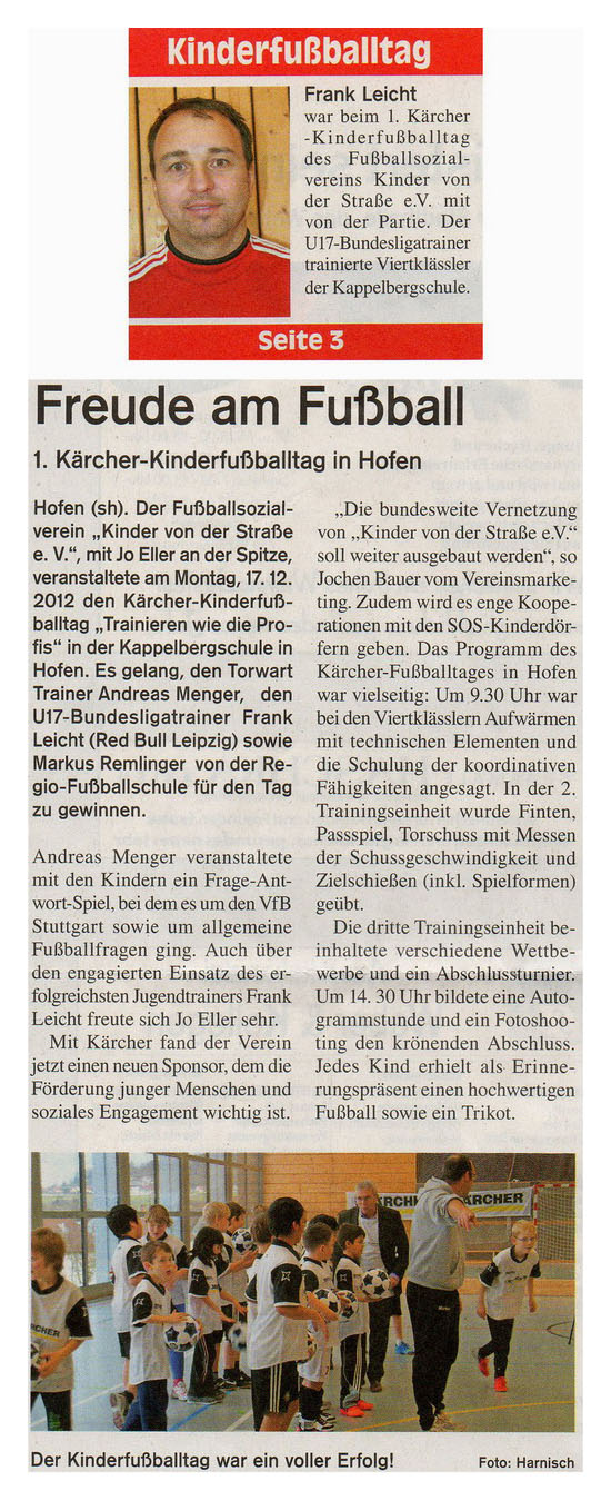 WZ vom 22122012 - Bild 1 - Datum: 13.01.2013 - Tags: Kärcher, Pressebericht, AKTION FUSSBALLTAG e.V.
