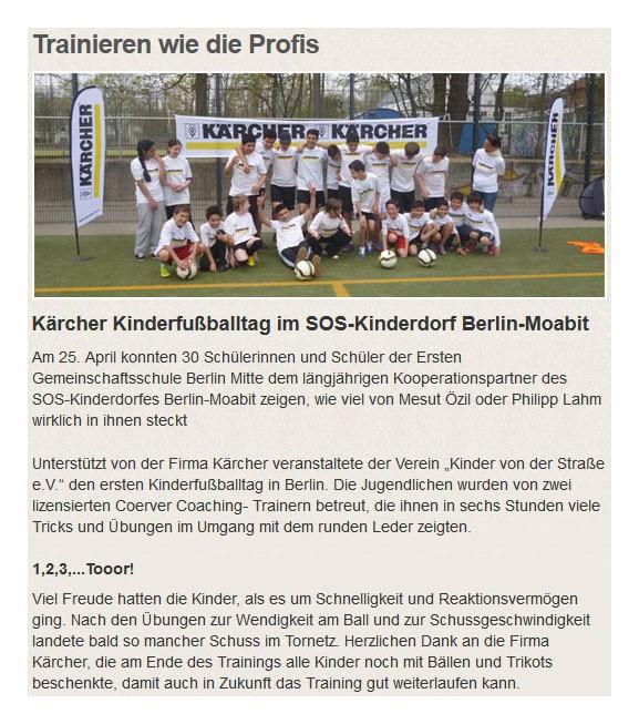 soskinderdorfde vom 10052013 - Bild 1 - Datum: 02.06.2013 - Tags: Kärcher, Pressebericht, AKTION FUSSBALLTAG e.V.