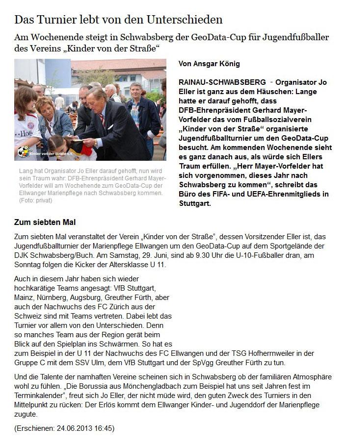 schwaebischede vom 24062013 - Bild 1 - Datum: 25.06.2013 - Tags: Pressebericht, AKTION FUSSBALLTAG e.V.