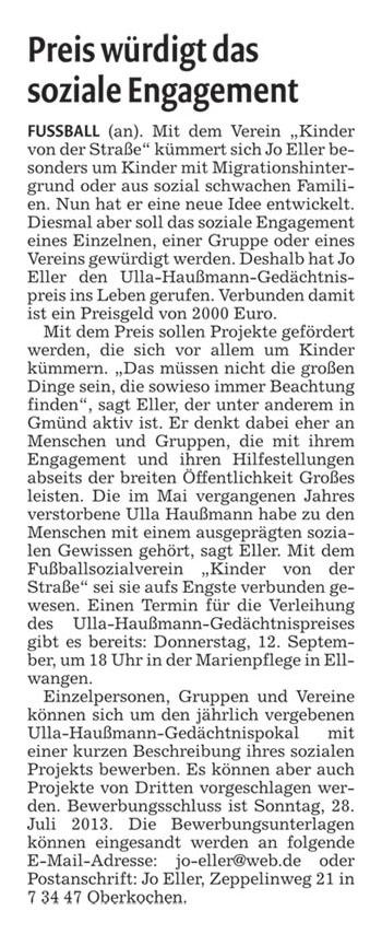 Remszeitung vom Juni 2013 - Bild 1 - Datum: 12.07.2013 - Tags: Pressebericht, Ulla Haußmann Gedächtnispreis, AKTION FUSSBALLTAG e.V.