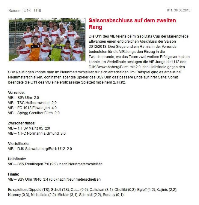 VfB Stuttgart vom 30062013 - Bild 1 - Datum: 12.07.2013 - Tags: Pressebericht, AKTION FUSSBALLTAG e.V.