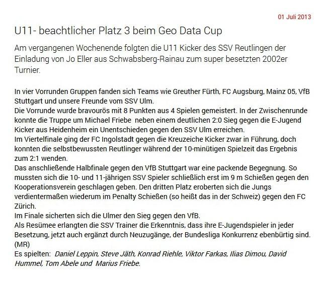 SSV Reutlingen vom 01072013 - Bild 1 - Datum: 13.07.2013 - Tags: Pressebericht, AKTION FUSSBALLTAG e.V.