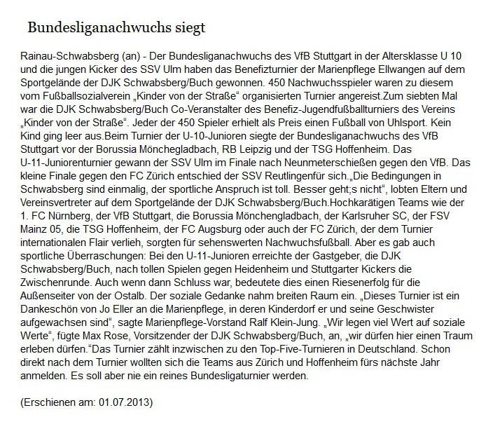 schwaebischede vom 01072013 - Bild 1 - Datum: 13.07.2013 - Tags: Pressebericht, AKTION FUSSBALLTAG e.V.