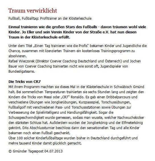Gmuender Tagespost vom 04072013 - Bild 1 - Datum: 13.07.2013 - Tags: Pressebericht, AKTION FUSSBALLTAG e.V.
