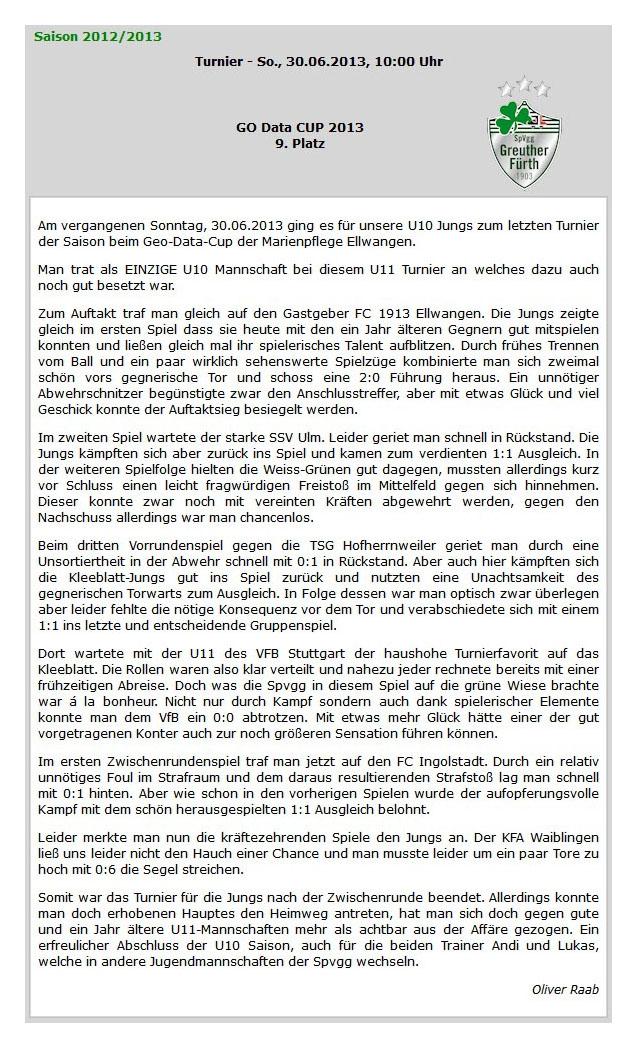 kleeblattchronikde vom Juli 2013 - Bild 1 - Datum: 14.07.2013 - Tags: Pressebericht, AKTION FUSSBALLTAG e.V.