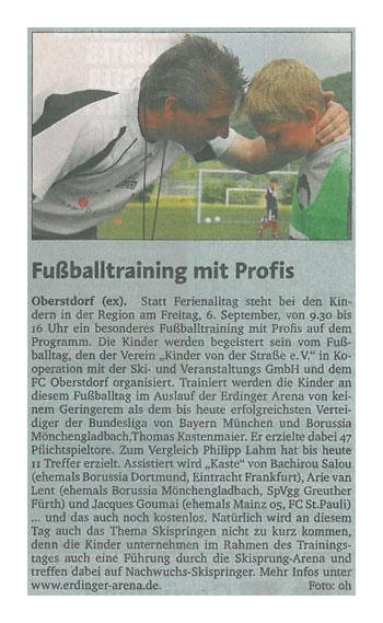 Allgaeuer Zeitung vom 14082013 - Bild 1 - Datum: 23.08.2013 - Tags: Fußballtag Erdinger Arena Oberstdorf, Pressebericht, AKTION FUSSBALLTAG e.V.