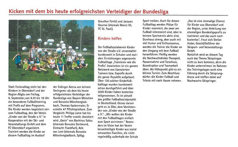 Allgaeuer Anzeigeblatt vom 28082013 - Bild 1 - Datum: 16.09.2013 - Tags: Fußballtag Erdinger Arena Oberstdorf, Pressebericht, AKTION FUSSBALLTAG e.V.