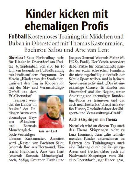 Allgaeuer Anzeigeblatt vom 04092013 - Bild 1 - Datum: 16.09.2013 - Tags: Fußballtag Erdinger Arena Oberstdorf, Pressebericht, AKTION FUSSBALLTAG e.V.