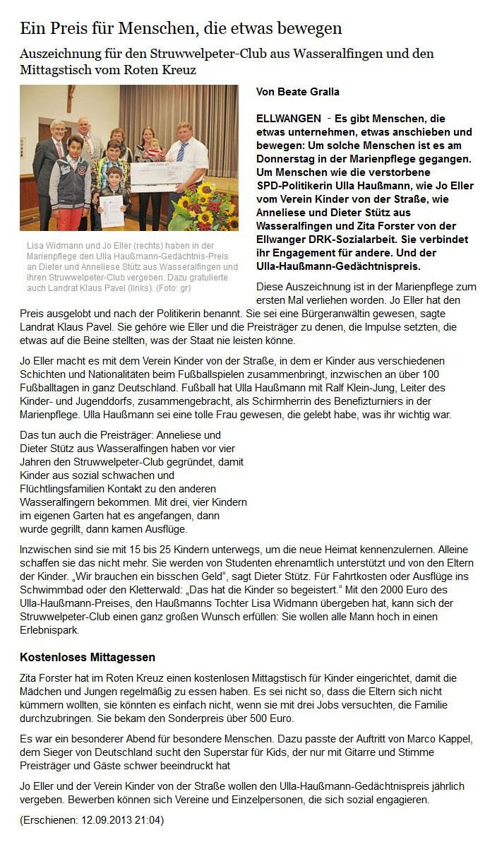schwaebischede vom 12092013 - Bild 1 - Datum: 16.09.2013 - Tags: Pressebericht, Ulla Haußmann Gedächtnispreis, AKTION FUSSBALLTAG e.V.