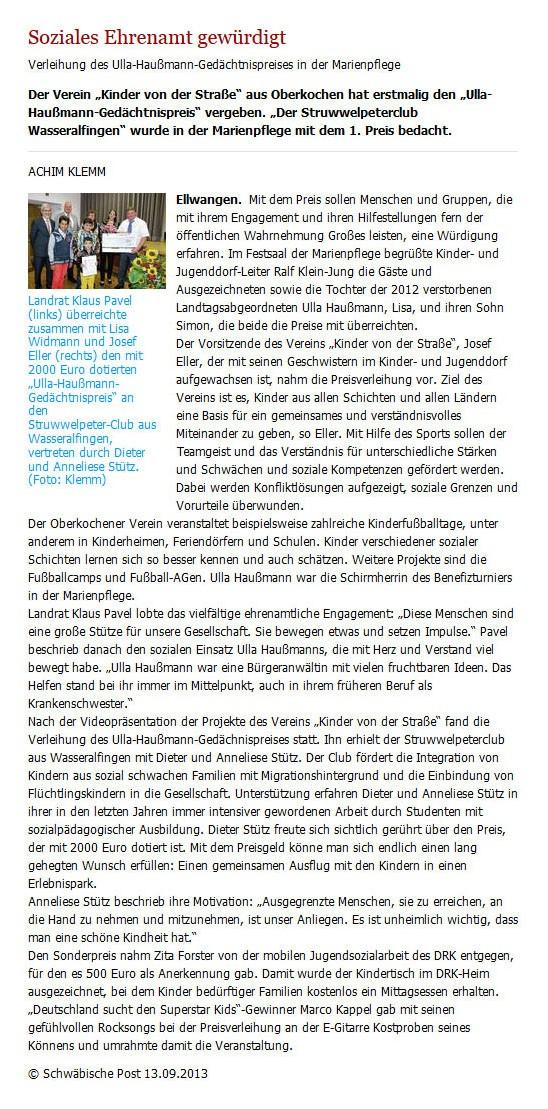 Schwaepo vom 13092013 - Bild 1 - Datum: 16.09.2013 - Tags: Pressebericht, Ulla Haußmann Gedächtnispreis, AKTION FUSSBALLTAG e.V.