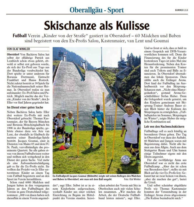 Allgaeuer Anzeigeblatt vom 14092013 - Bild 1 - Datum: 16.09.2013 - Tags: Fußballtag Erdinger Arena Oberstdorf, Pressebericht, AKTION FUSSBALLTAG e.V.