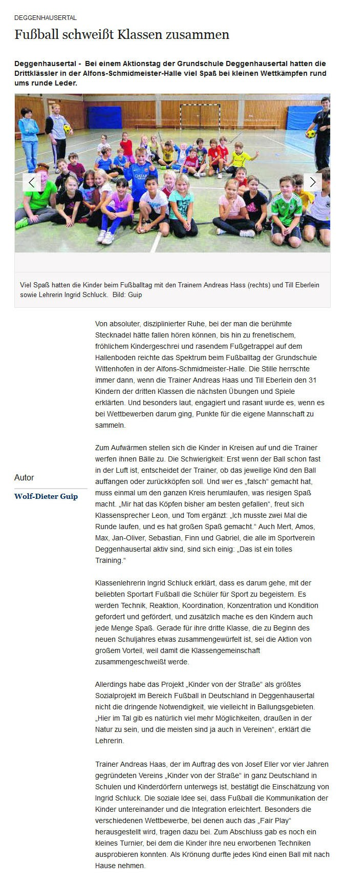 Suedkurier vom 09102013 - Bild 1 - Datum: 09.10.2013 - Tags: Pressebericht, AKTION FUSSBALLTAG e.V.