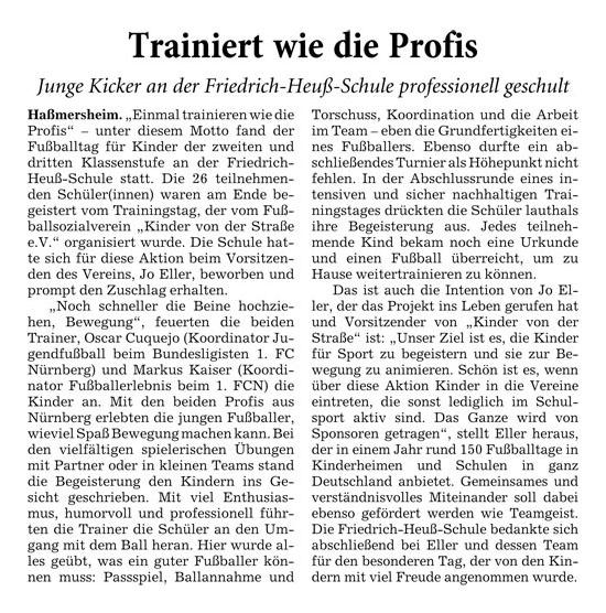 RheinNeckarZeitung vom 21102013 - Bild 1 - Datum: 29.10.2013 - Tags: Pressebericht, AKTION FUSSBALLTAG e.V.