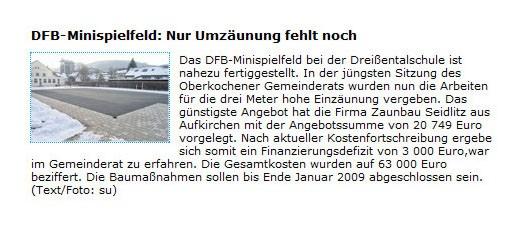 SchwaePo vom 3 Dezember 2008 - Bild 1 - Datum: 04.12.2008 - Tags: Pressebericht, AKTION FUSSBALLTAG e.V.