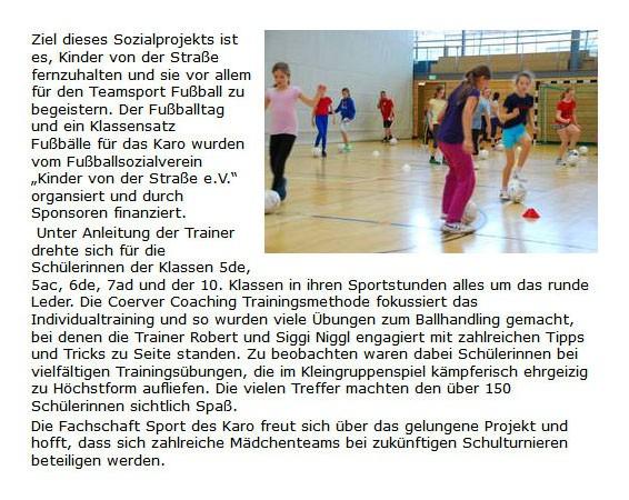 KarolinenGymnasium Rosenheim vom Dezember 2013 - Bild 1 - Datum: 08.12.2013 - Tags: Pressebericht, AKTION FUSSBALLTAG e.V.