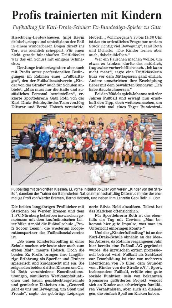 RheinNeckarZeitung vom 21112013 - Bild 1 - Datum: 12.12.2013 - Tags: Pressebericht, AKTION FUSSBALLTAG e.V.