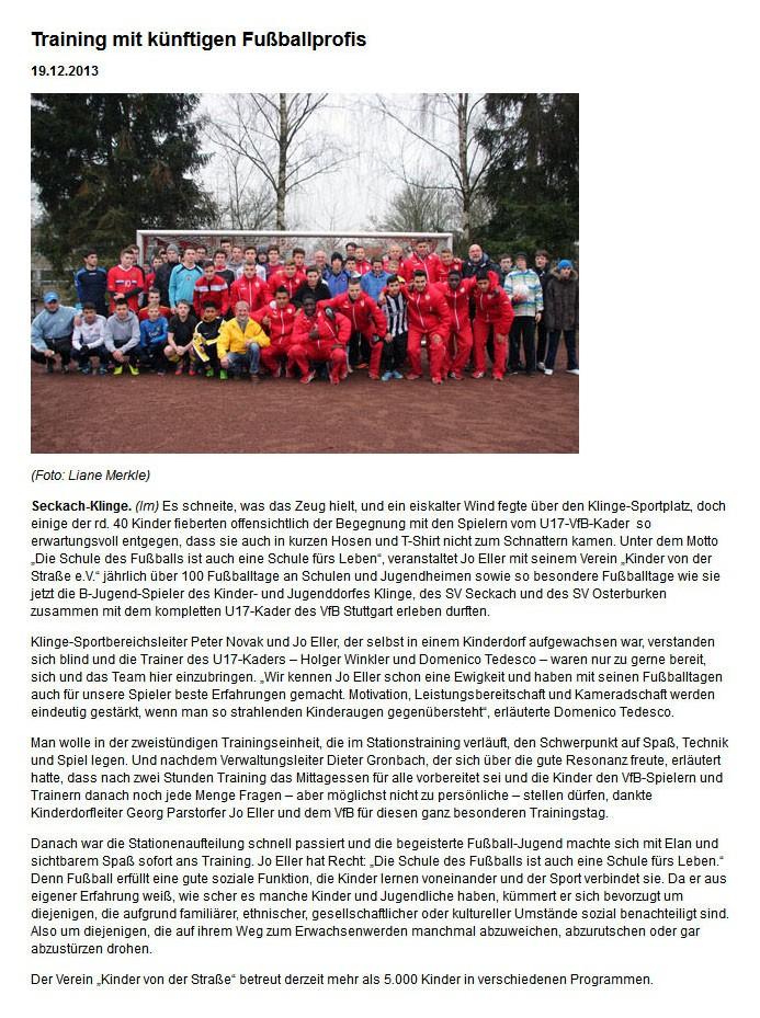 nokzeitde NeckarOdenwaldKreisZeitung vom 19122013 - Bild 1 - Datum: 13.01.2014 - Tags: Pressebericht, AKTION FUSSBALLTAG e.V.