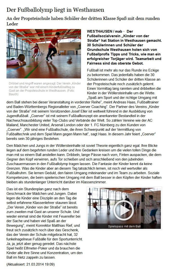 schwaebischede vom 21032014 - Bild 1 - Datum: 24.03.2014 - Tags: Pressebericht, AKTION FUSSBALLTAG e.V.