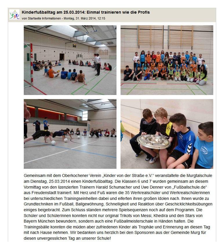 Murgtalschule vom 31032014 - Bild 1 - Datum: 14.04.2014 - Tags: Pressebericht, AKTION FUSSBALLTAG e.V.