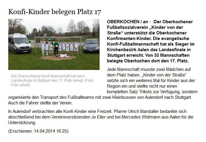 schwaebischede vom 14042014 - Bild 1 - Datum: 15.04.2014 - Tags: Pressebericht, AKTION FUSSBALLTAG e.V.