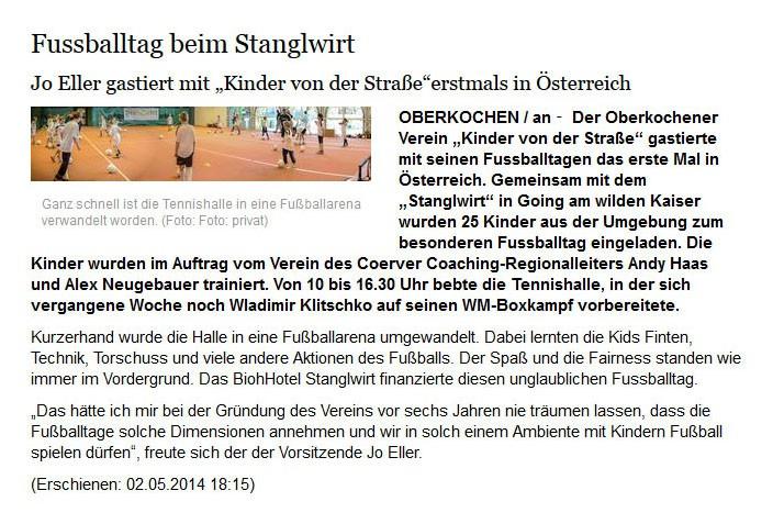 schwaebischede vom 02052014 - Bild 1 - Datum: 03.05.2014 - Tags: Fußballtag in Österreich beim Stanglwirt, Pressebericht, AKTION FUSSBALLTAG e.V.