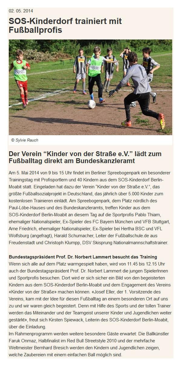 SOSKinderdorf Berlin vom 02052014 - Bild 1 - Datum: 06.05.2014 - Tags: Fußballtag in Berlin vor dem Bundestag, Pressebericht, AKTION FUSSBALLTAG e.V.